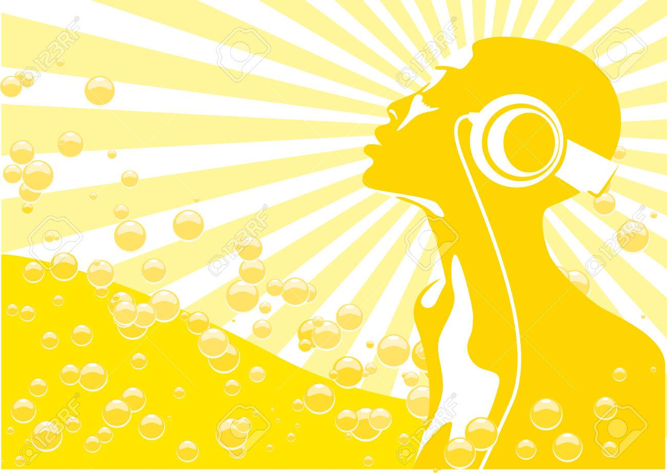 Abstract vector of african woman listening to music Stock Vector - 2481689