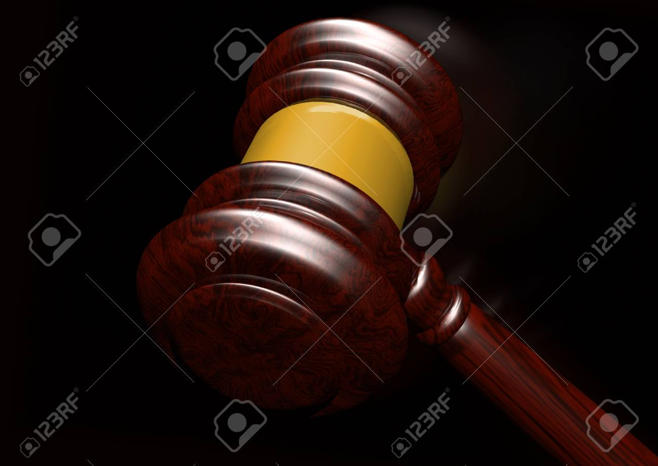 3d Rendering Of A Judges Gavel Coming Down Stock Photo