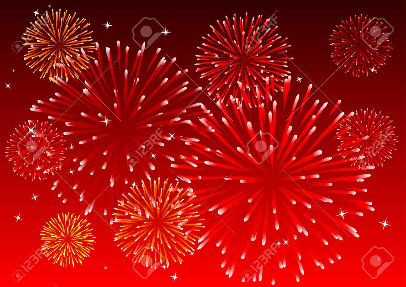 Abstract vector illustration of fireworks in the sky Stock Vector - 3175903