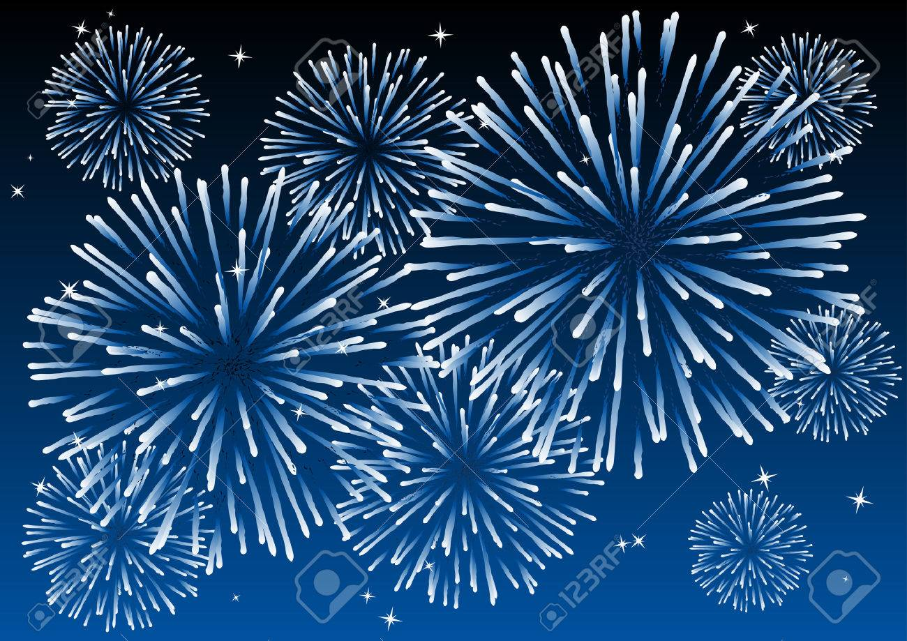 Abstract vector illustration of fireworks in the sky Stock Vector - 3212243