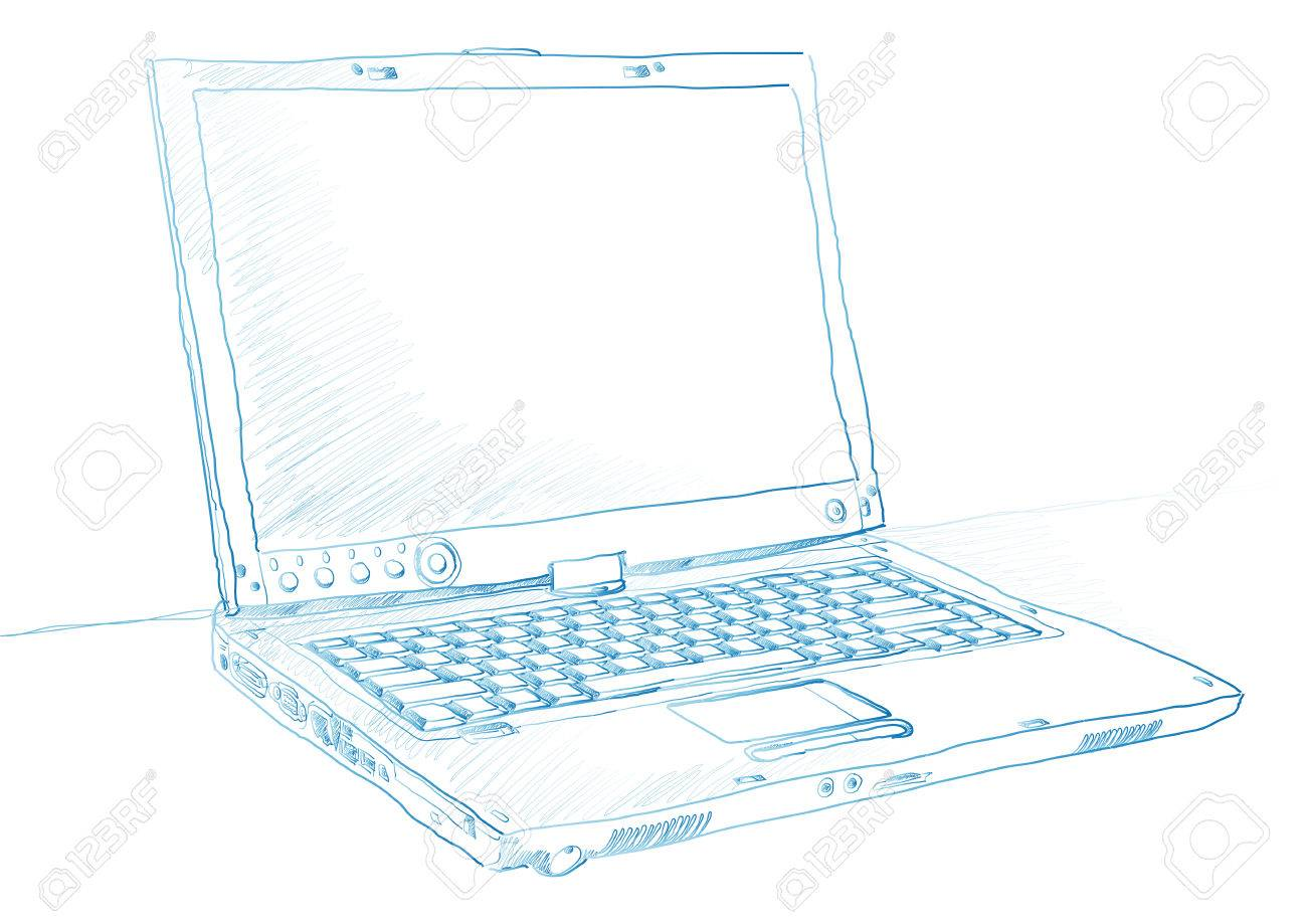 Artist sketch of a laptop in blue ink over a white Stock Vector - 3625741