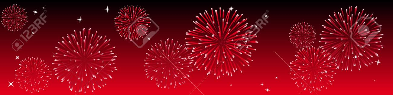 Abstract vector illustration of fireworks in the sky in red Stock Vector - 3759032