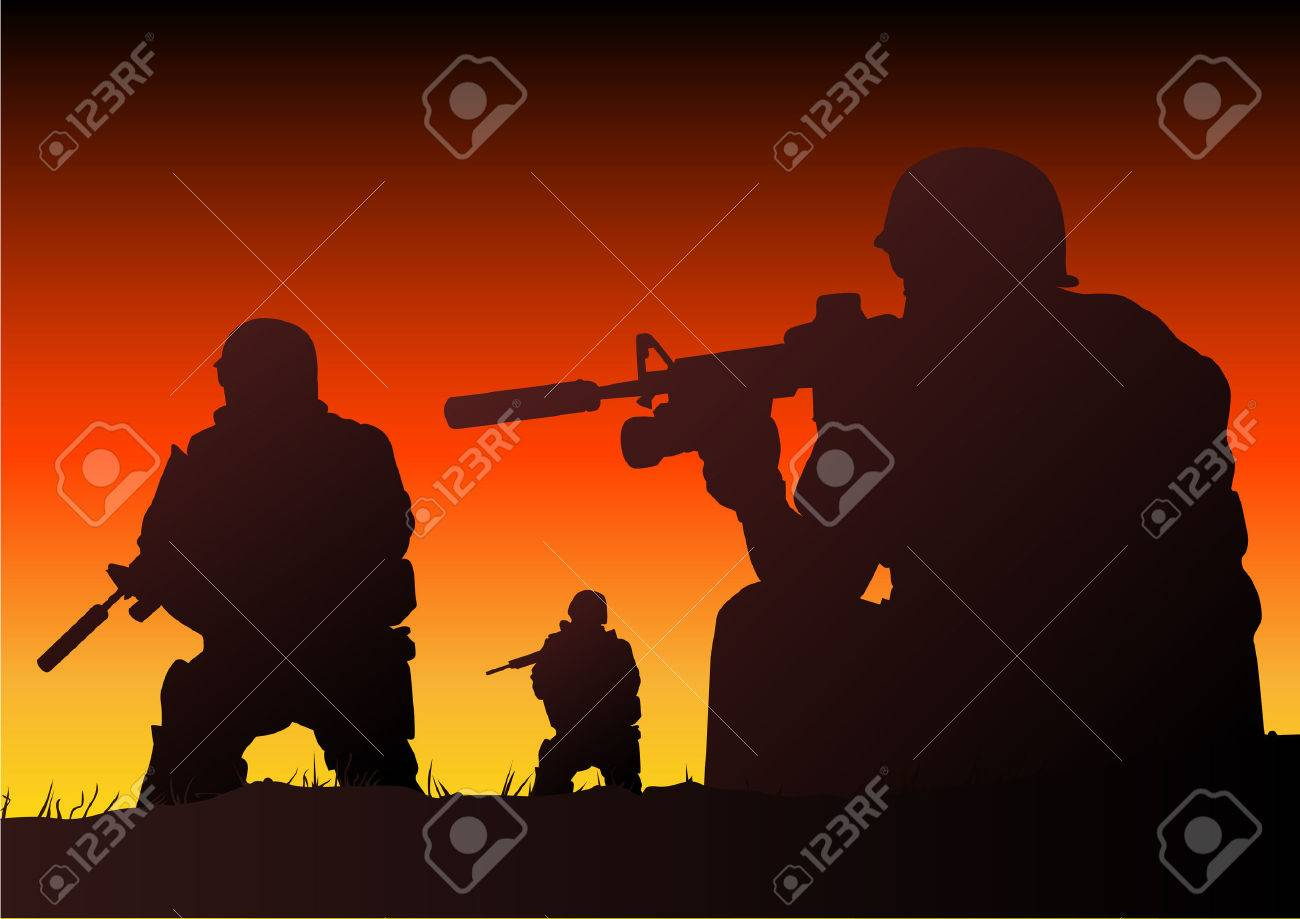 Abstract silhouette vector illustration of soldiers at sundown Stock Vector - 3851421