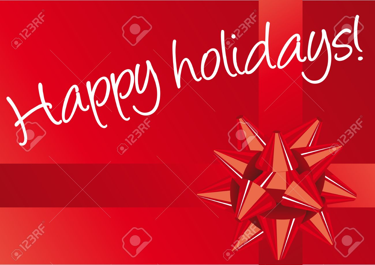 Abstract vector illustration of a red christmas bow over red with white text happy holidays Stock Vector - 3998938