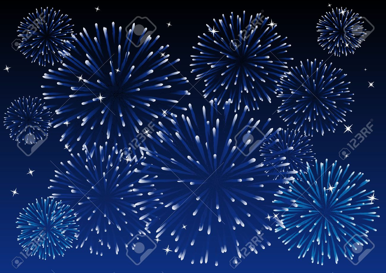 Abstract vector illustration of a blue sky with fireworks Stock Vector - 5545819