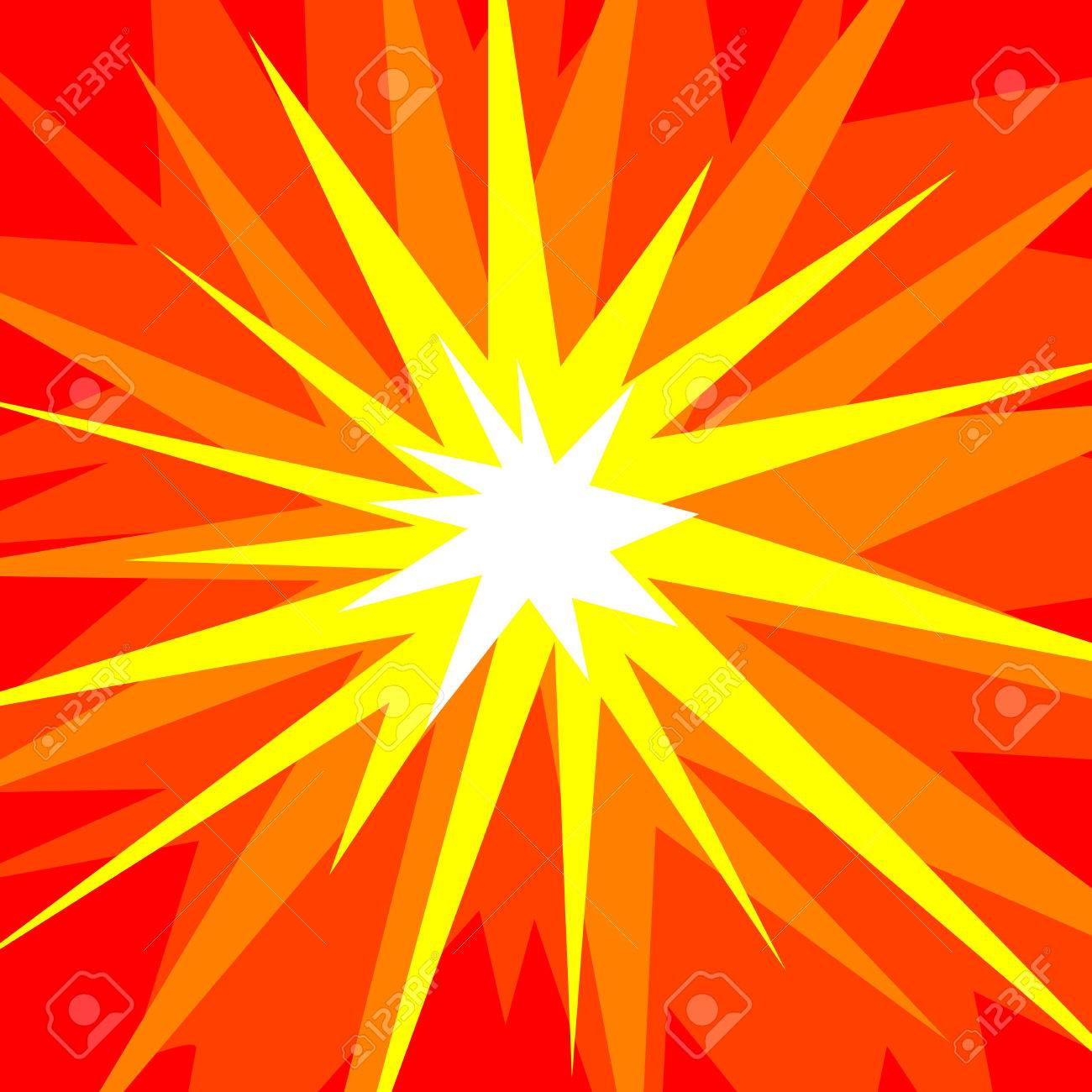 Abstract vector illustration of a cartoonstyle explosion in red, orange, yellow and white Stock Vector - 5597322