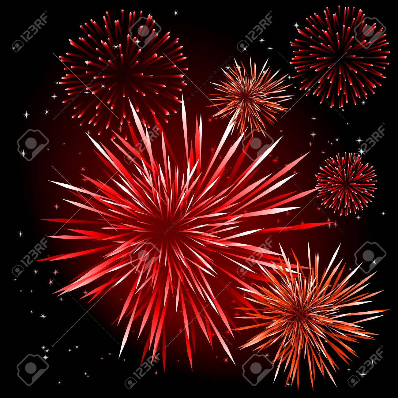 Abstract vector illustration of fireworks over a black sky Stock Vector - 5661513