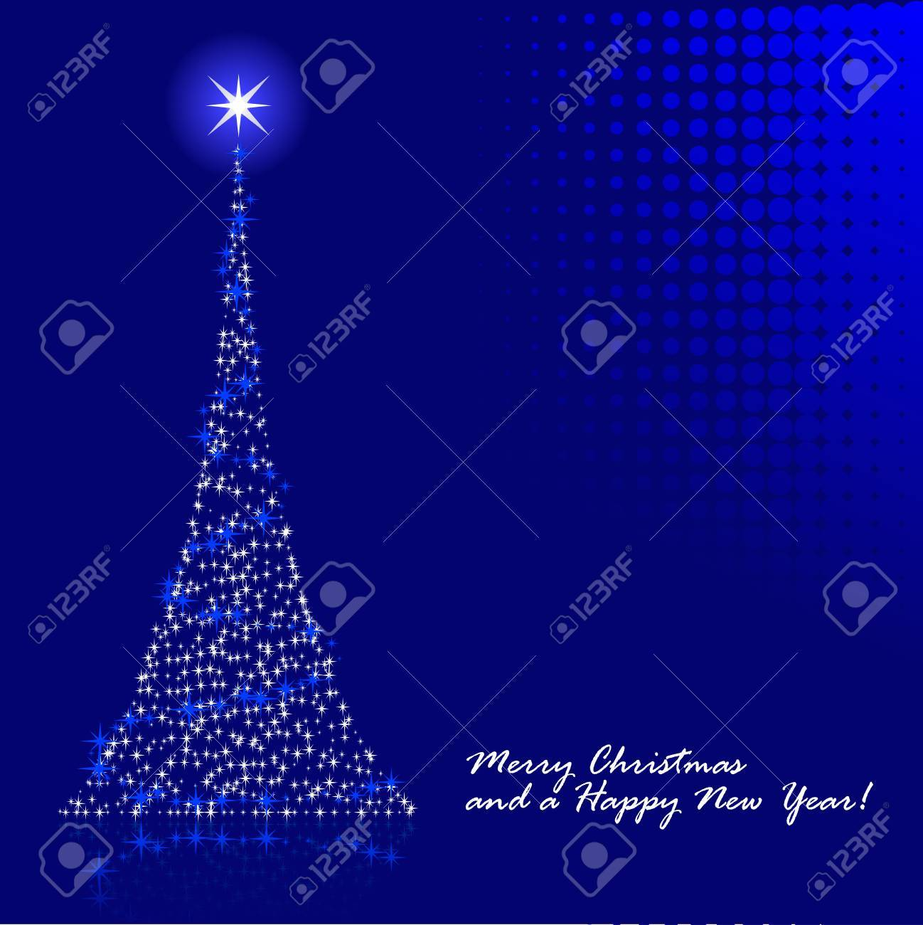 Abstract vector illustration of a christmas tree over a blue background Stock Vector - 5680131