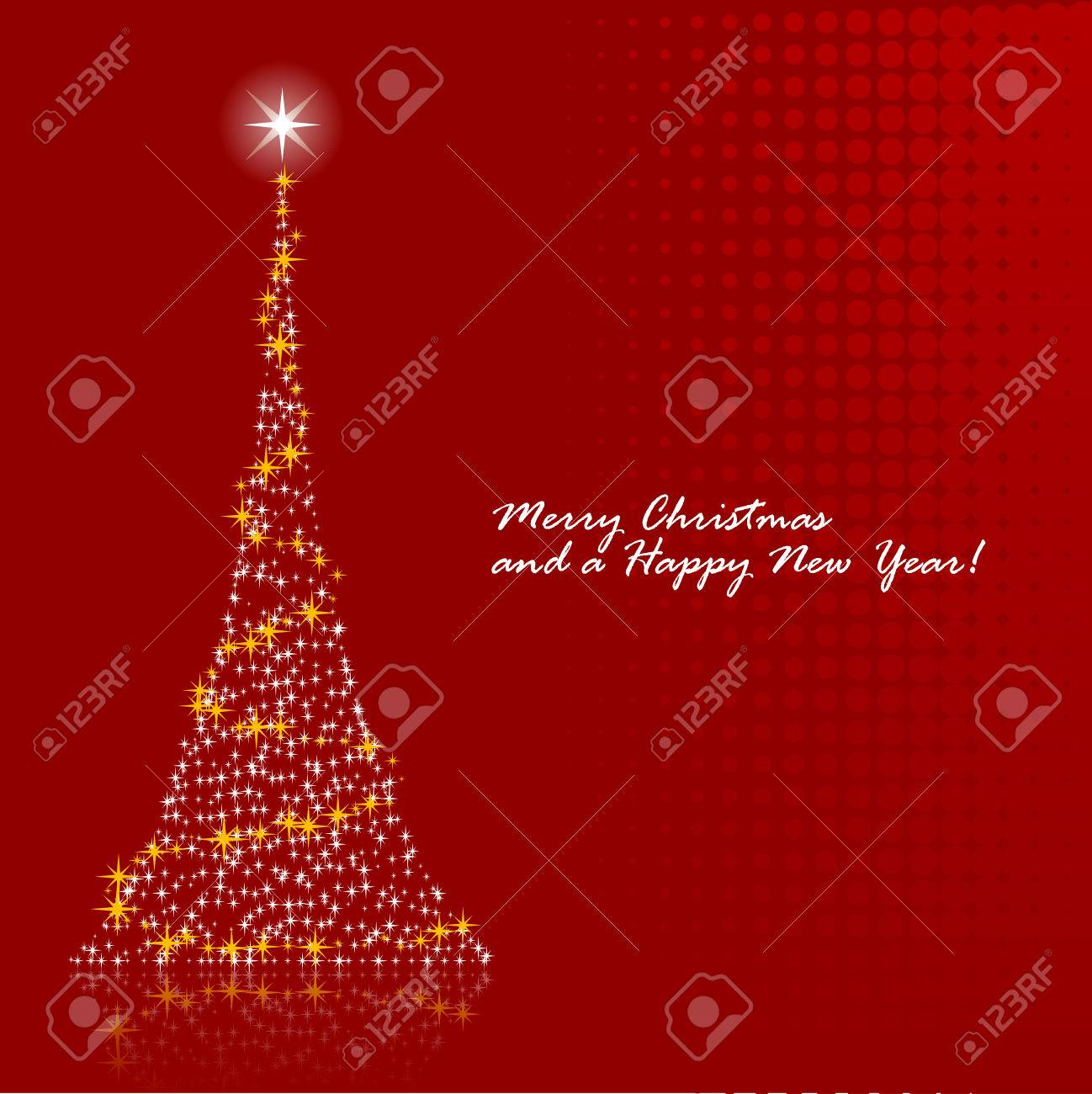 Abstract vector illustration of a christmas tree over a red background Stock Vector - 5680153