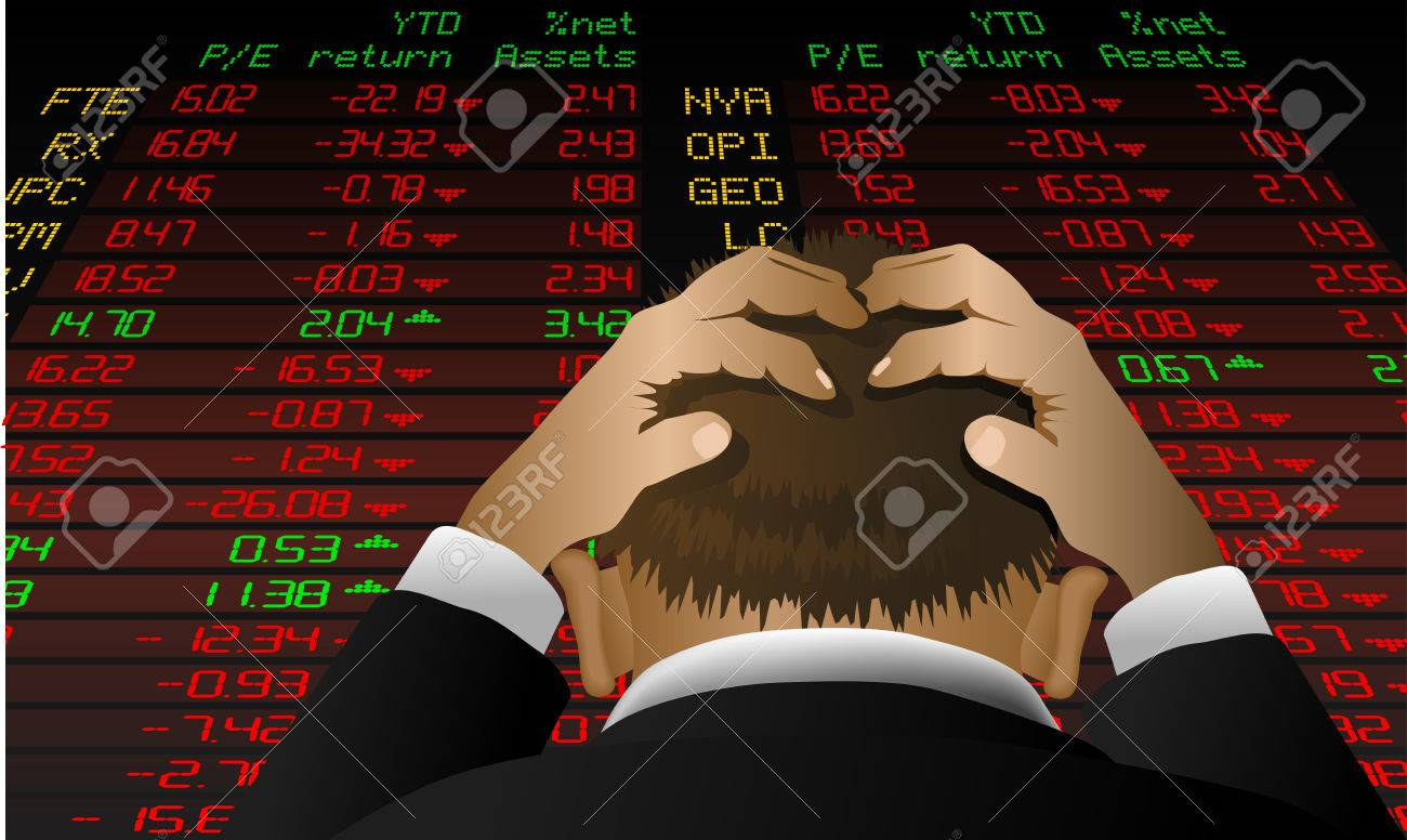 Abstract vector illustration of a stock broker looking at the stock exchange screen in despair Stock Vector - 5680156