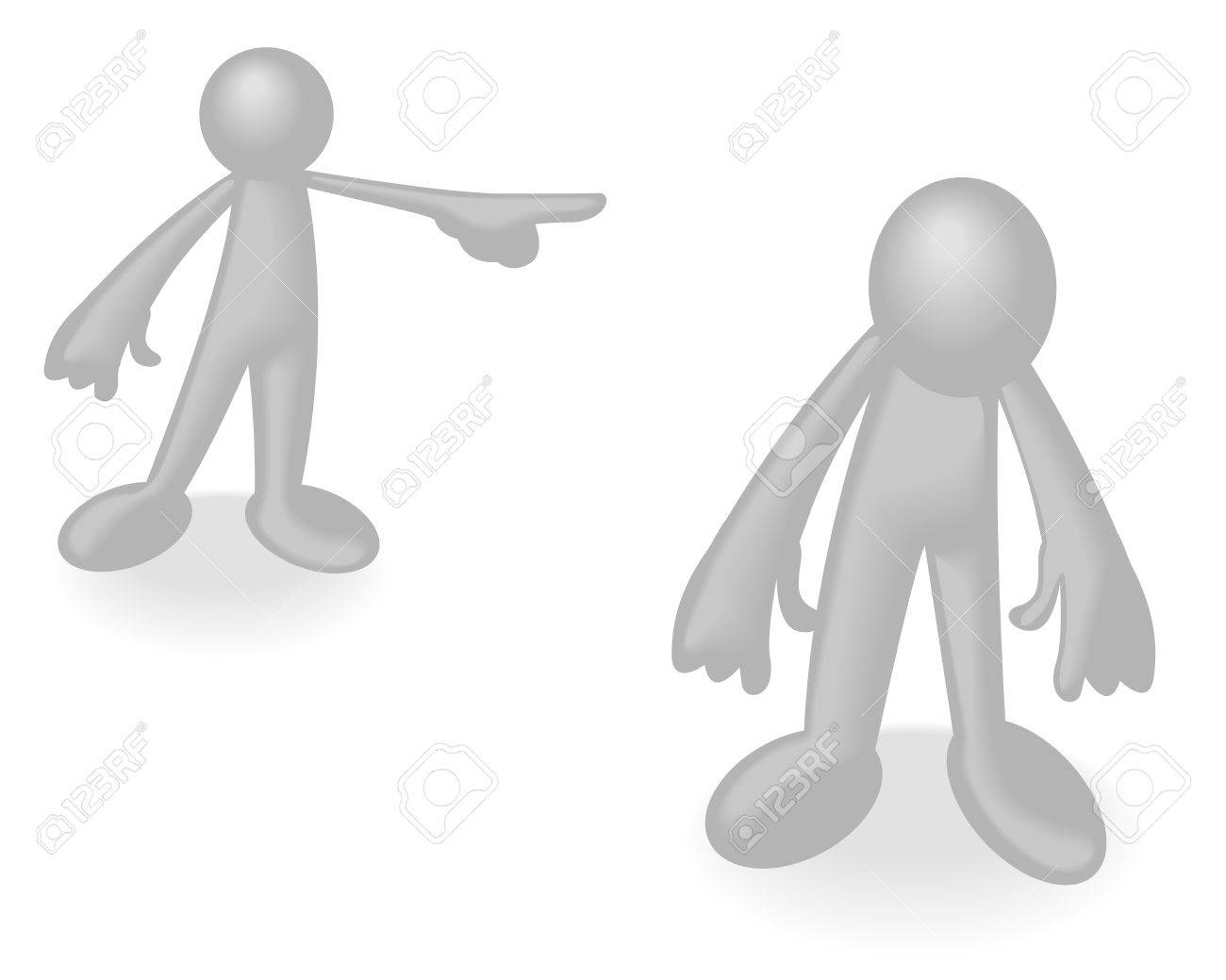 Abstract vector illustration of simple white man being sent away by another Stock Vector - 5713928