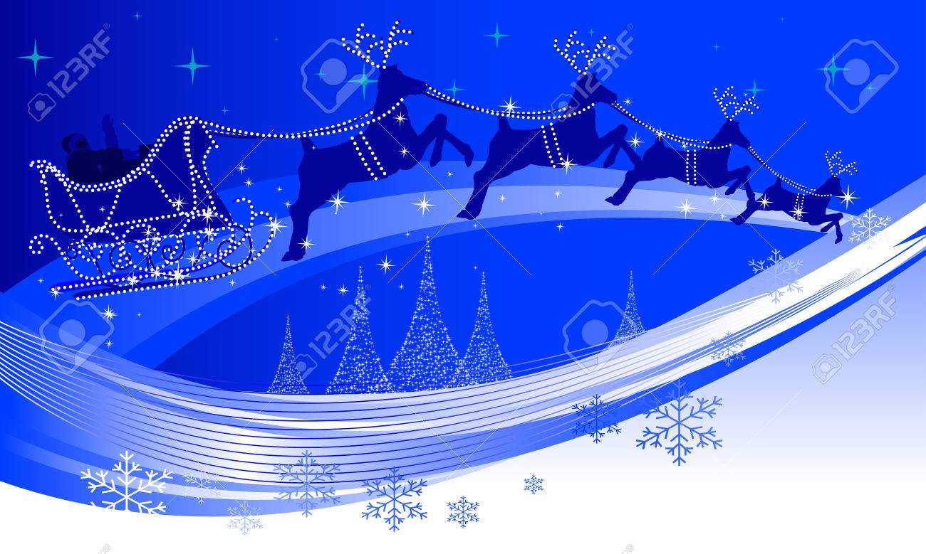 abstract illustration of santa claus and his reindeer royalty free