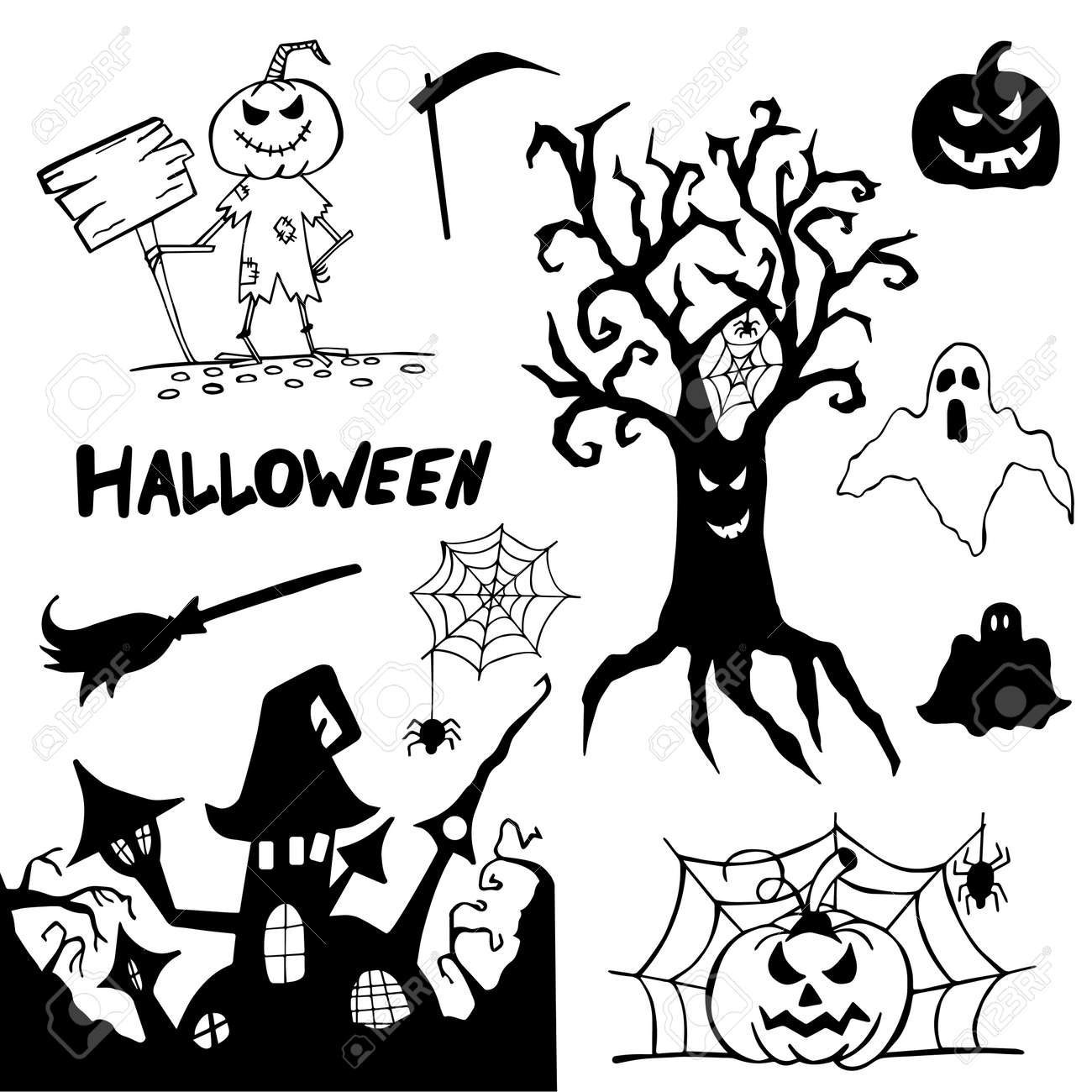 Halloween doodle set hand drawn. Halloween vector collection of holiday symbols. Pumpkin, grave, ghost, horror, fear and other drawn vector Halloween elements. Copy space. - 170750518