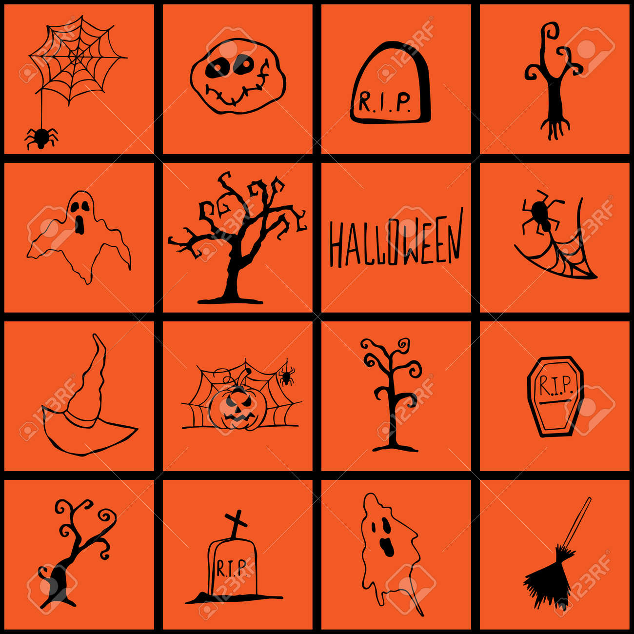 Halloween doodle set hand drawn. Halloween vector collection of holiday symbols. Pumpkin, grave, ghost, horror and other drawn vector Halloween elements. - 170750520