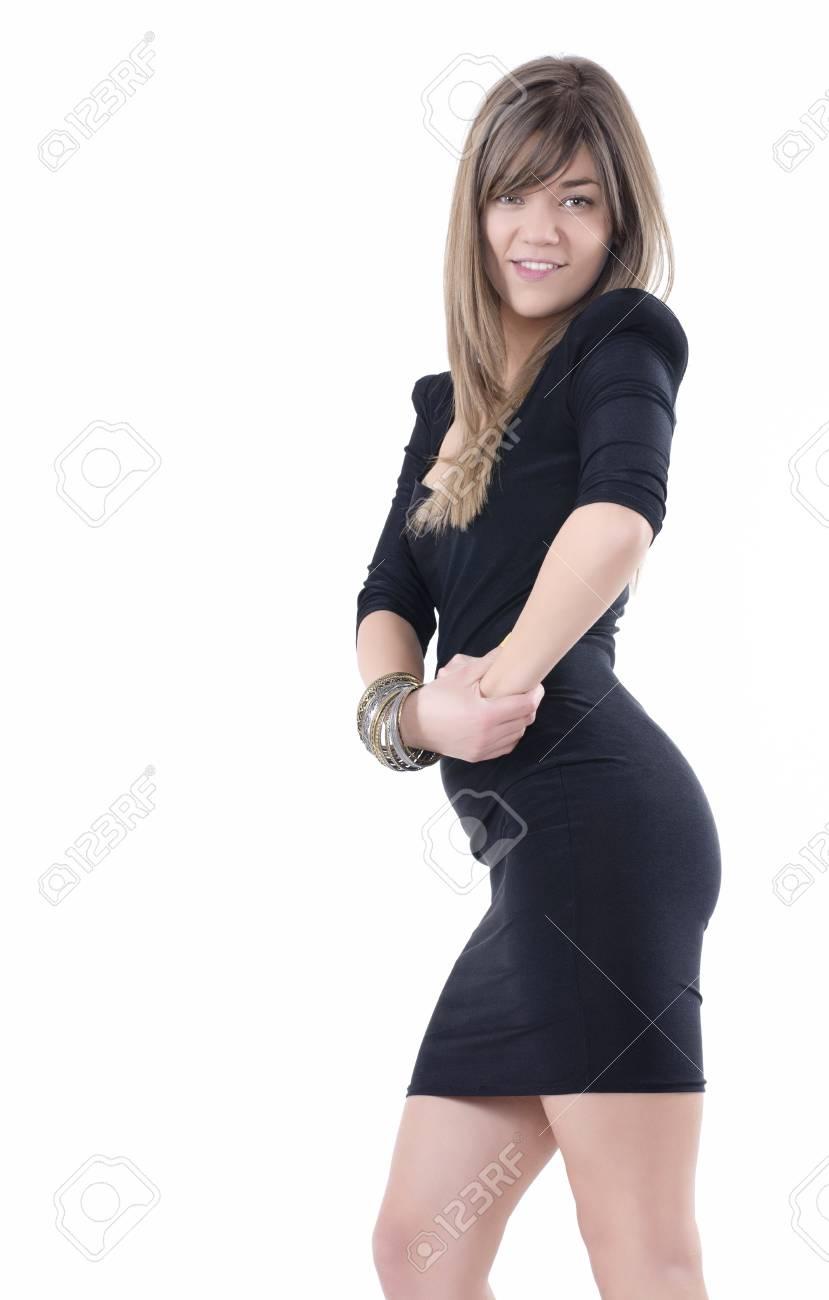 3920d13f665 짧은 검은 섹시 드레스 서 웃 고 귀여운 갈색 머리 로열티 무료 사진 ...