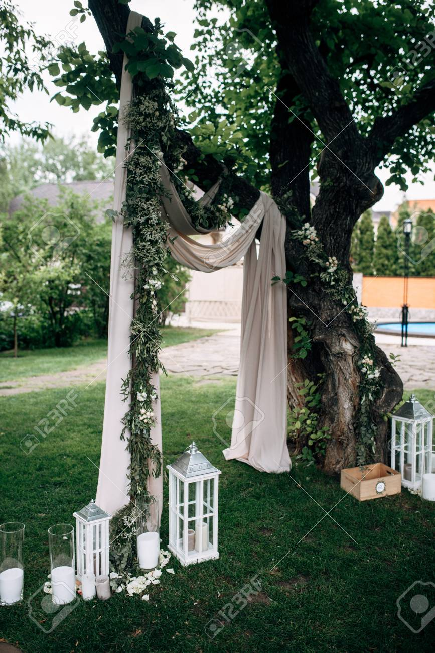 Open Air Wedding Ceremony With Eucalyptus Wedding Arch, Decorated ...