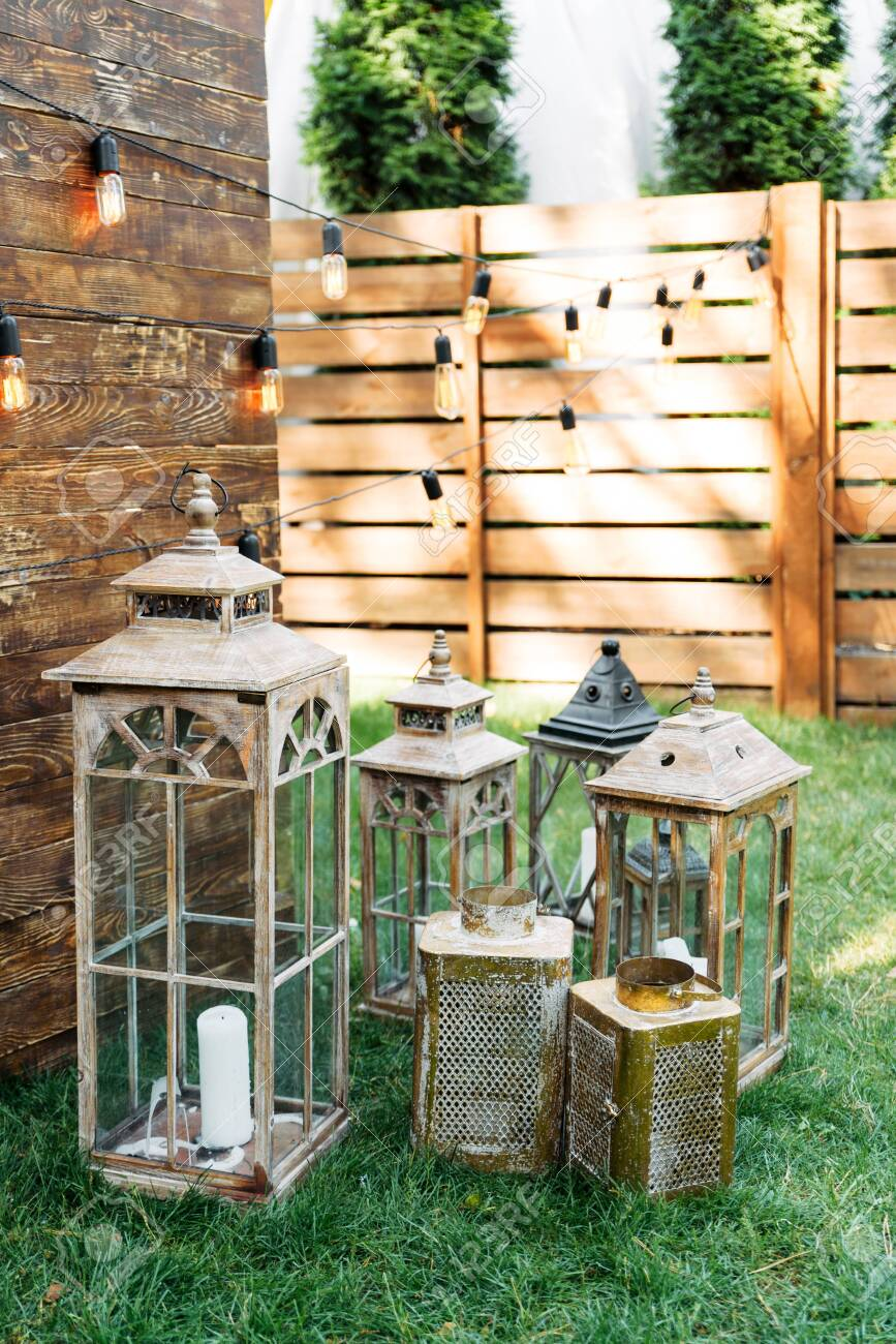 Outdoor Wedding Ceremony Oldfashion Wooden Lanterns In Rustic Stock Photo Picture And Royalty Free Image Image 141989848