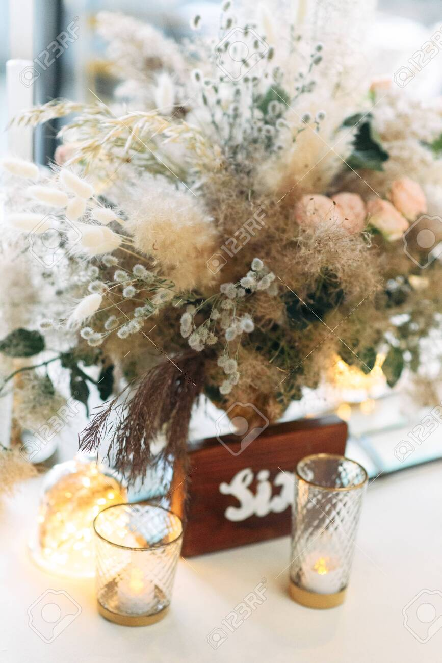 Boho Style Festive Table Decor In Warm Colors Bouquet With Fluffy Stock Photo Picture And Royalty Free Image Image 141595014