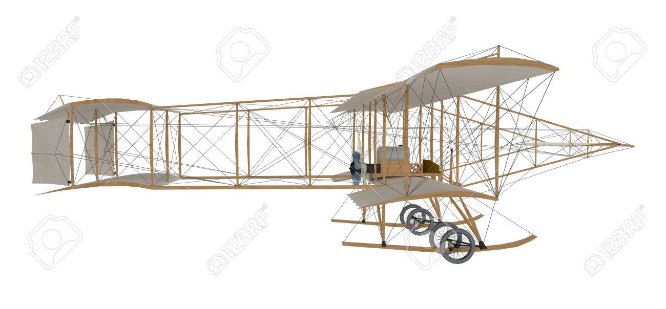 inventor first airplane isolated on white. 3d rendering - 78346450