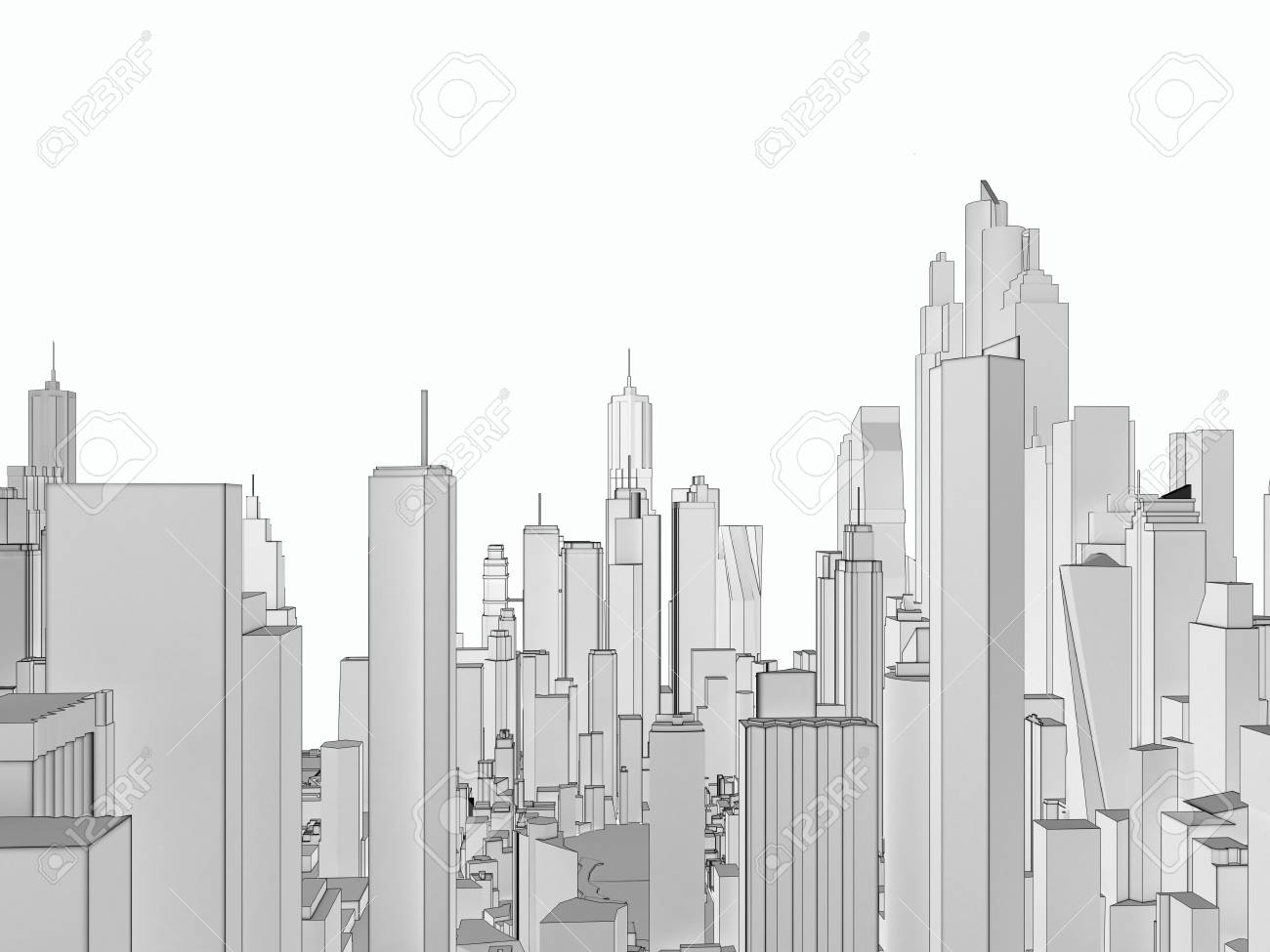 Panorama low poly white city  3d rendering