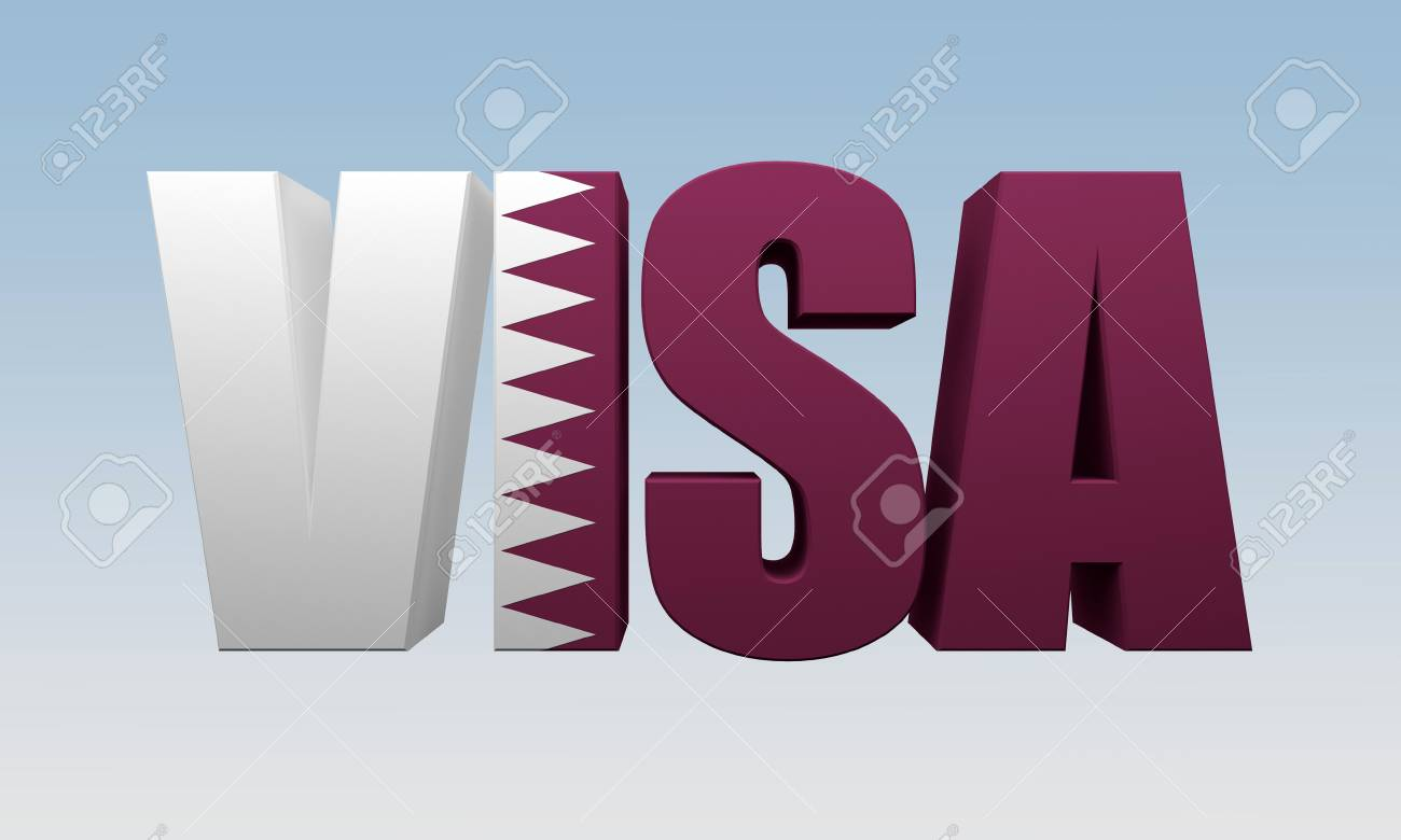 text visa is painted flag of State of Qatar  3d rendering
