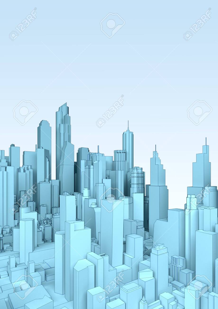 landscape blue abstract low poly city   3d rendering