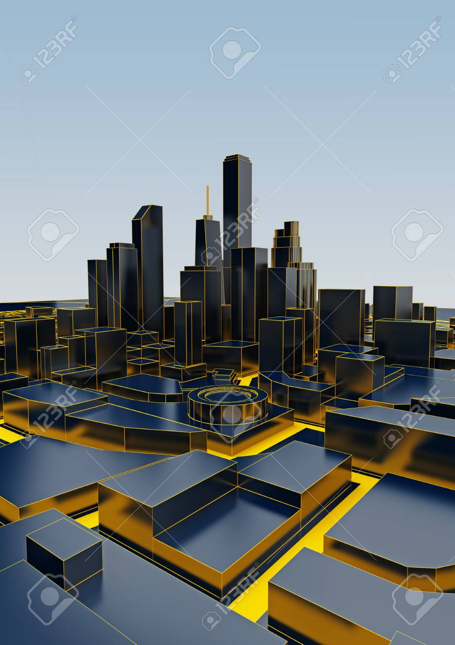 black low poly city with yellow roads  3d rendering