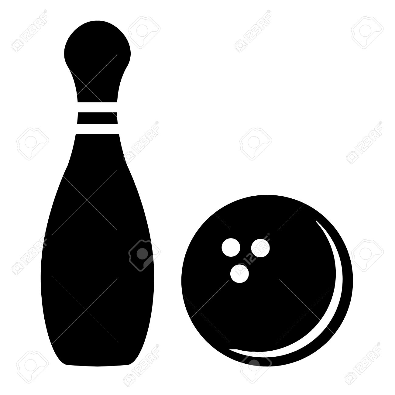 silhouette of bowling pins and bowling ball royalty free cliparts rh 123rf com bowling pin vector images ten pin bowling vector
