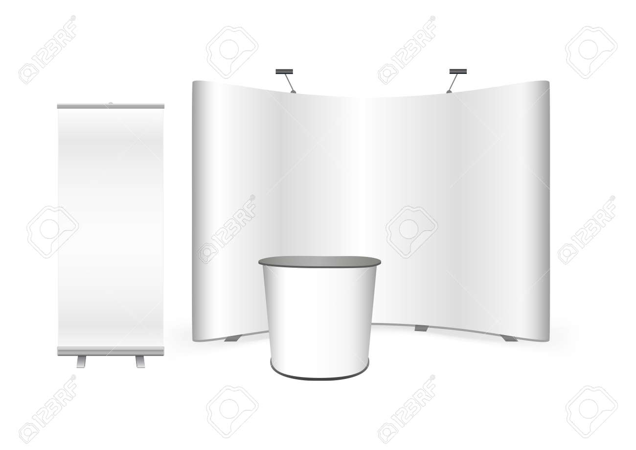Vector exhibition promo set for advertising agency. Pop up trade show stand, promotion retail trade stand, roll up banner and feather advertising promo beach bow flags isolated on a white background - 167505435
