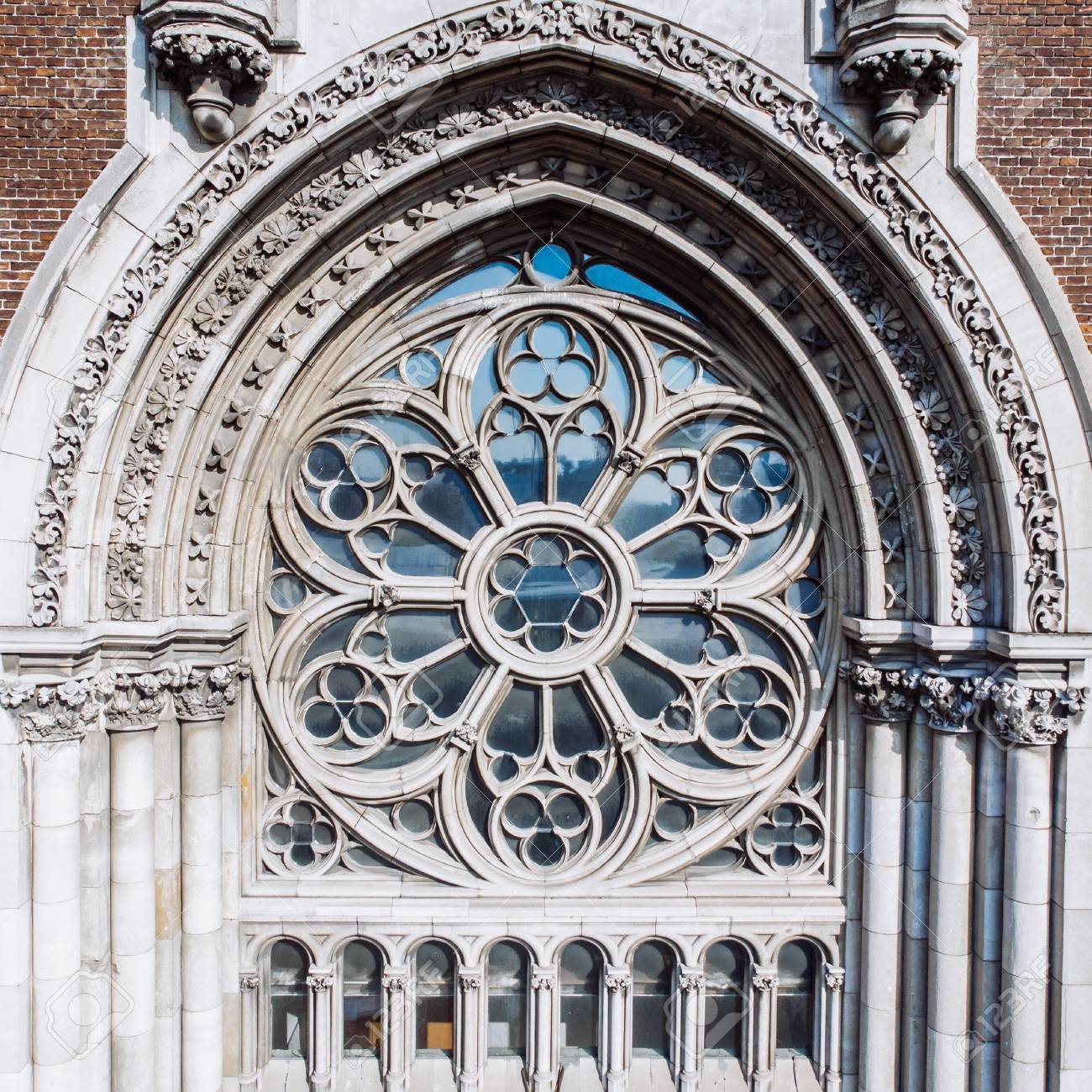 Old Gothic Church Close Up Windows Stock Photo