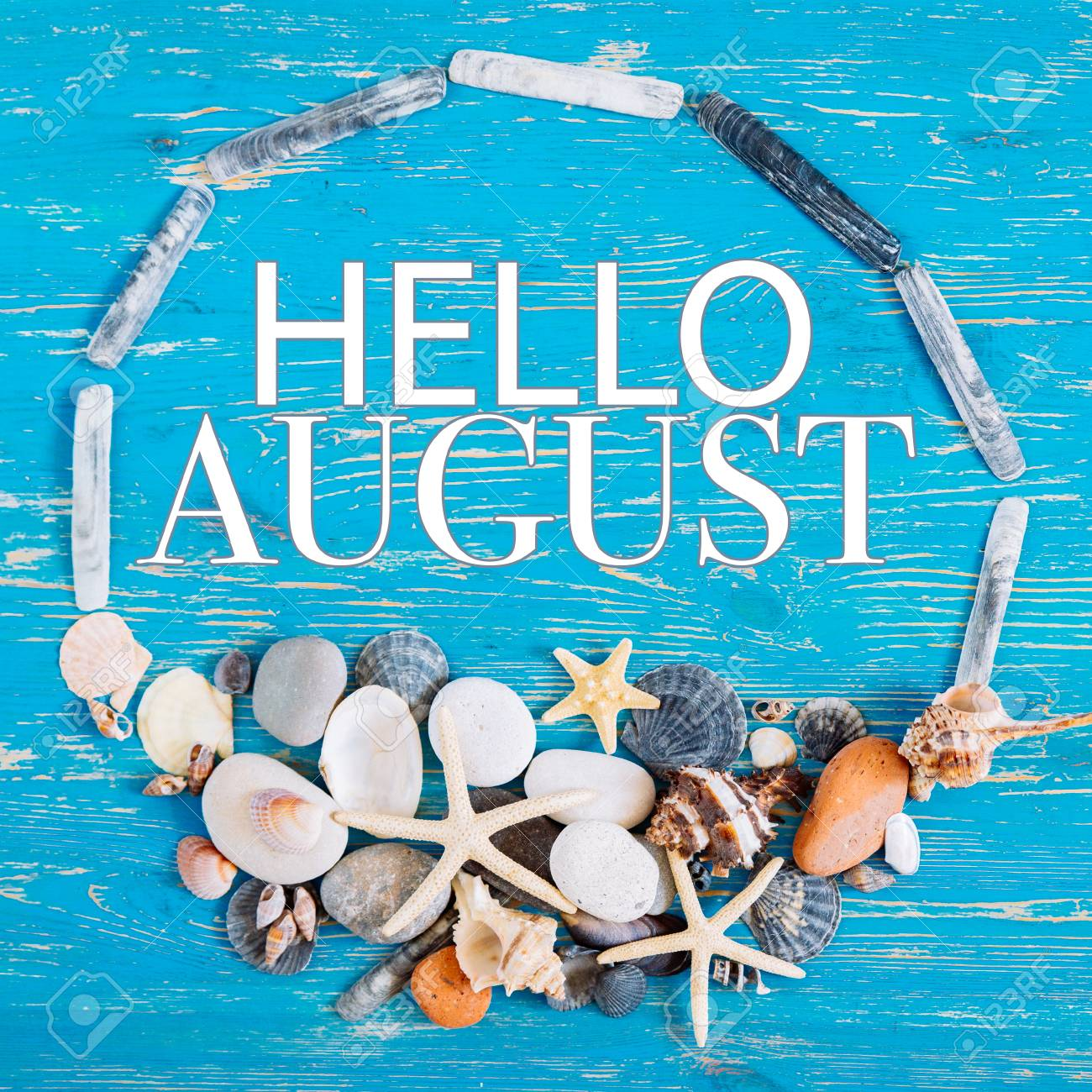 Hello August Text In Circle Of Sea Shells Title Concept Stock Photo Picture And Royalty Free Image Image 103604505