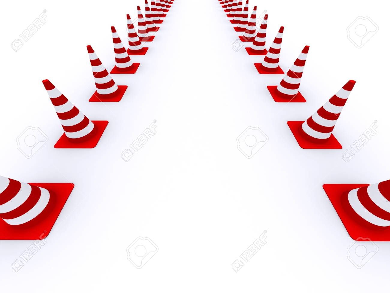 Immagini Stock Road Coni Bianco Rosso Su Sfondo Bianco Image 4279318