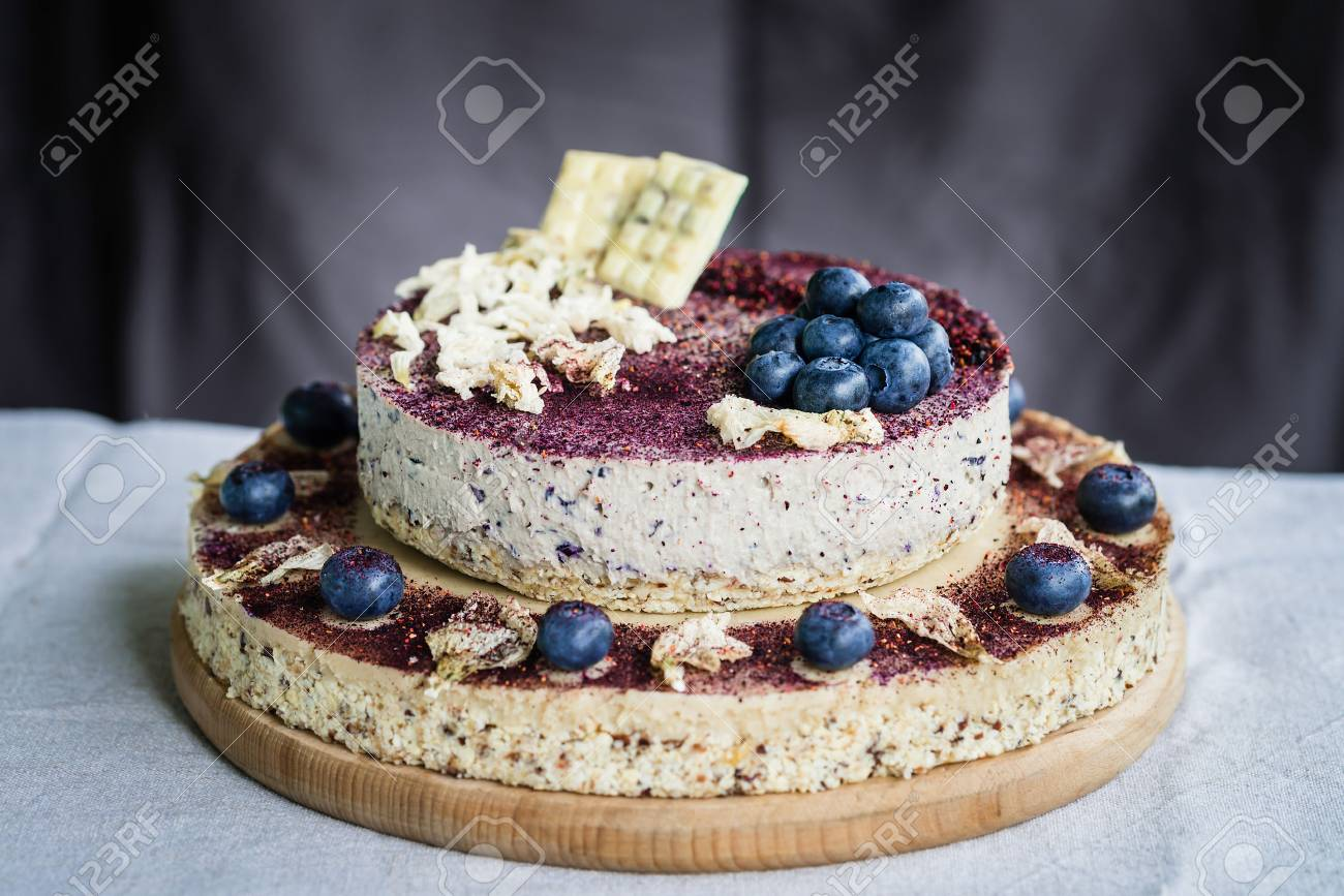 Raw Blueberry Cheesecake, Homemade With Decoration Of Dried
