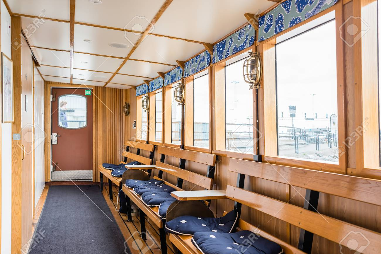 Outstanding Stockholm Sweden July 12 2017 Boat Interior With Windows Spiritservingveterans Wood Chair Design Ideas Spiritservingveteransorg