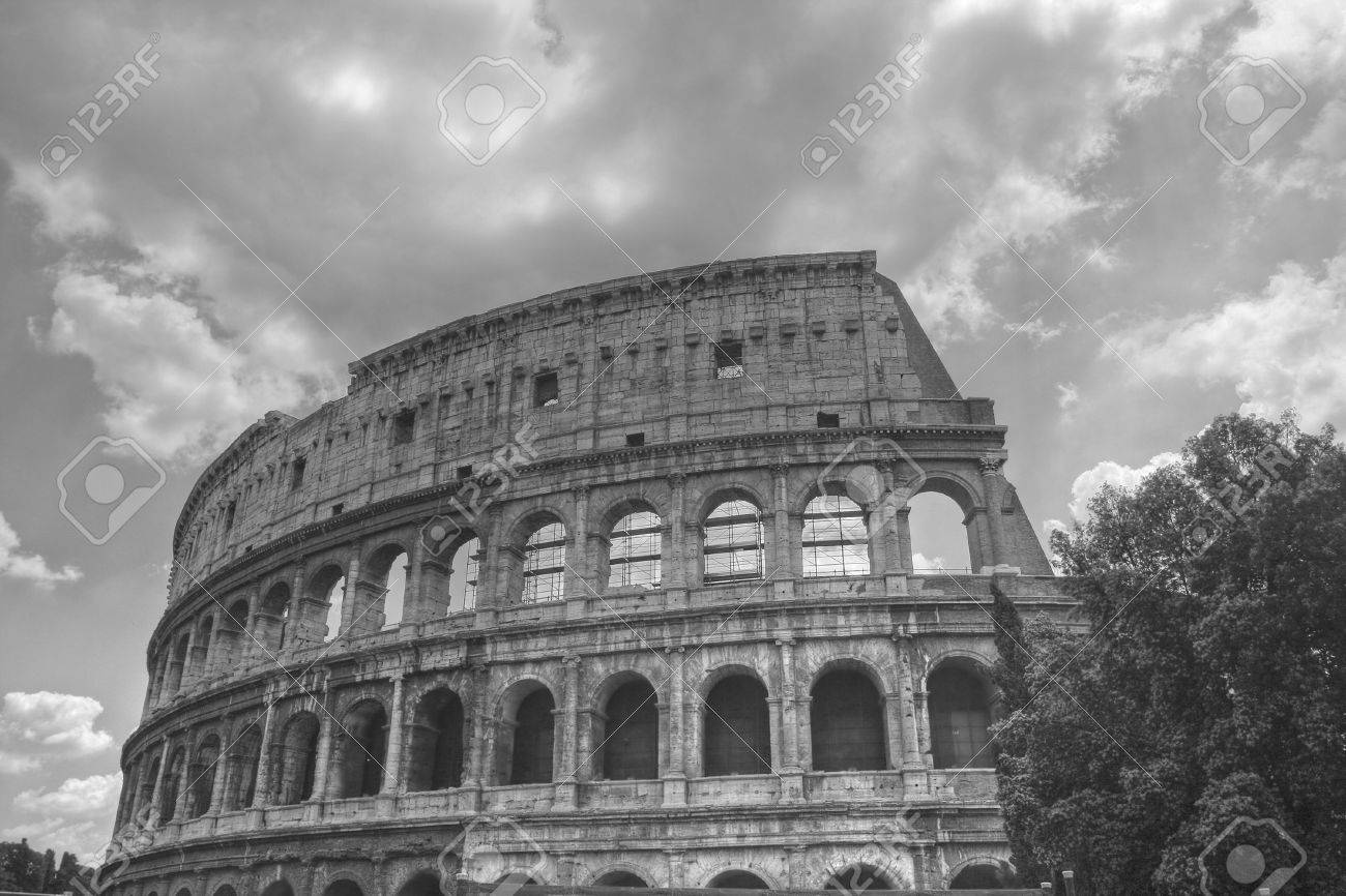 Stock photo the black and white image of ancient rome coliseum italy
