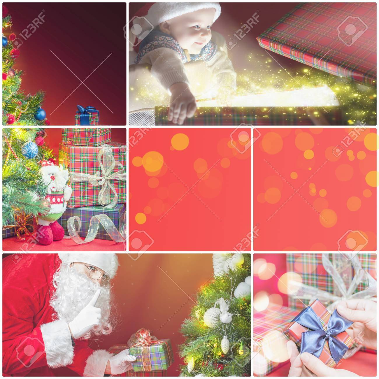Collage With Several Images Of Christmas Xmas Theme Santa Holding Stock Photo Picture And Royalty Free Image Image 49857738