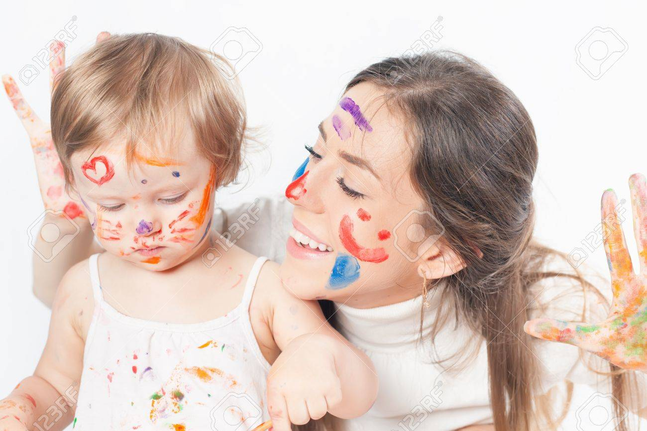 Mom And Baby Draws With Colored Inks Paint. Games With Child.. Stock ...