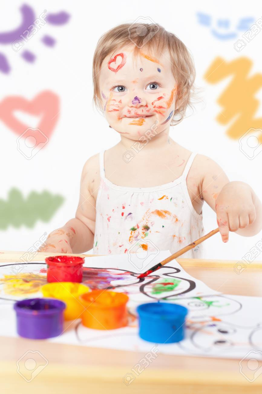 Baby Draws With Colored Inks Paint. Games With Child Affect Early ...