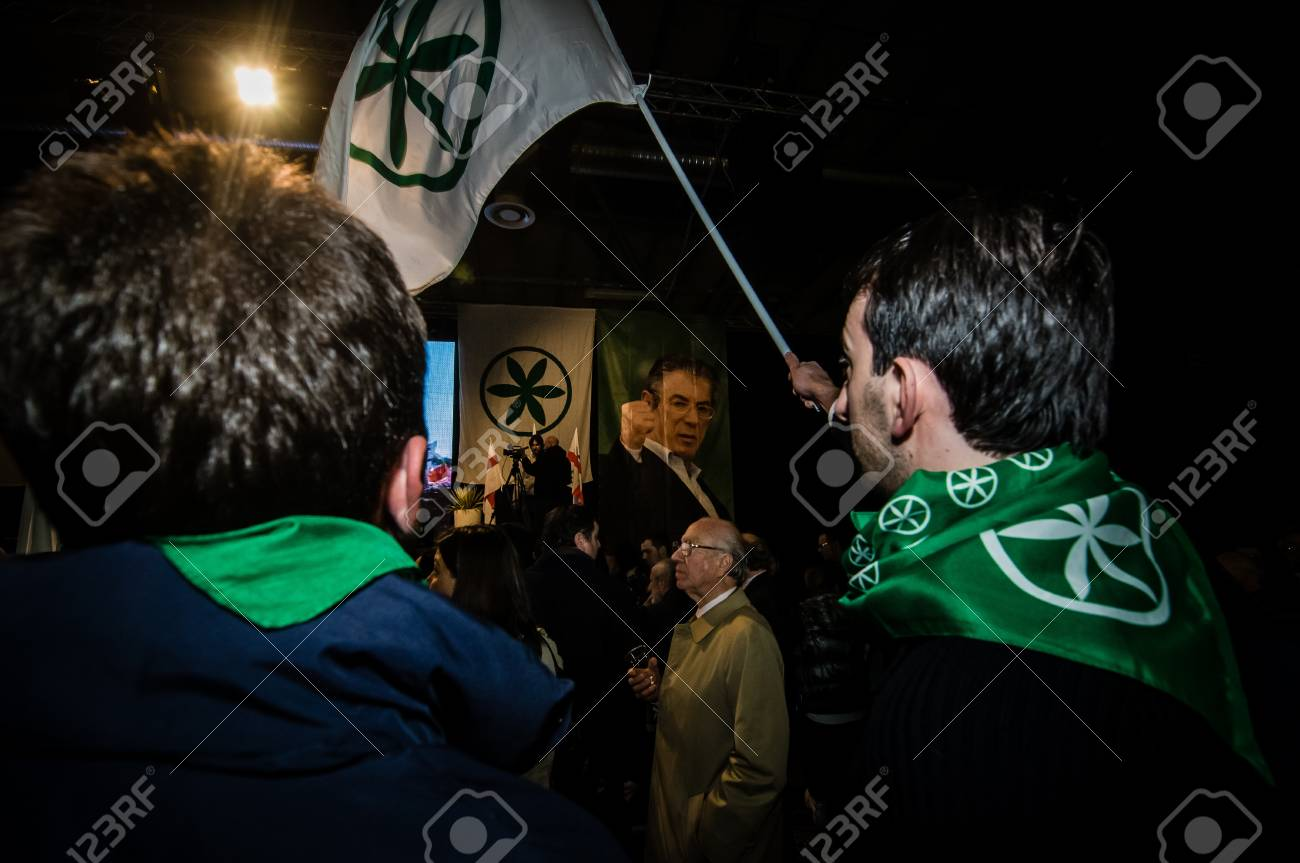 BERGAMO, ITALY - APRIL 14  Lega Nord meeting held in Bergamo April 14, 2012  The Italian right political party Lega Nord, meets with its voters to discuss internal problems and elect new president Stock Photo - 17401905