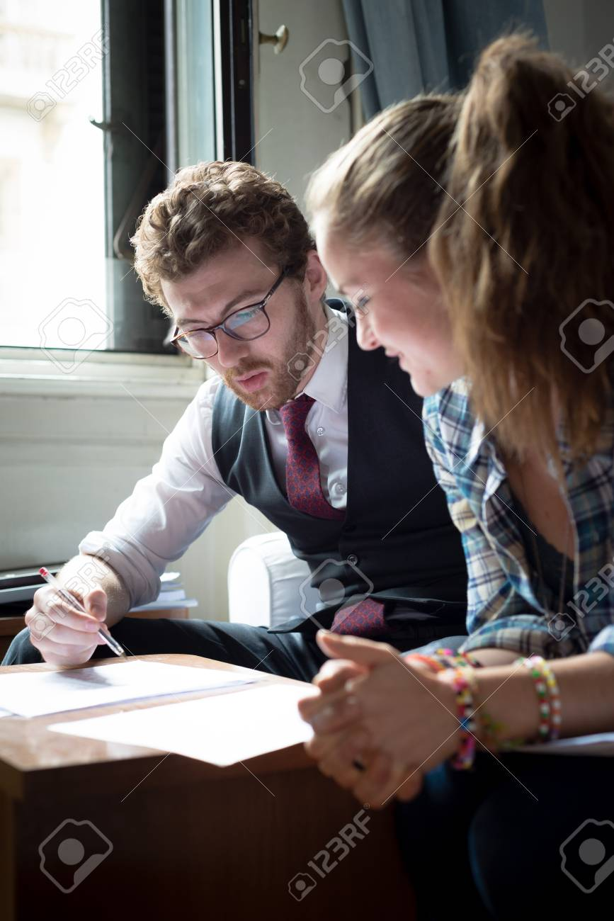 business blonde hipster couple working at home Stock Photo - 22774117