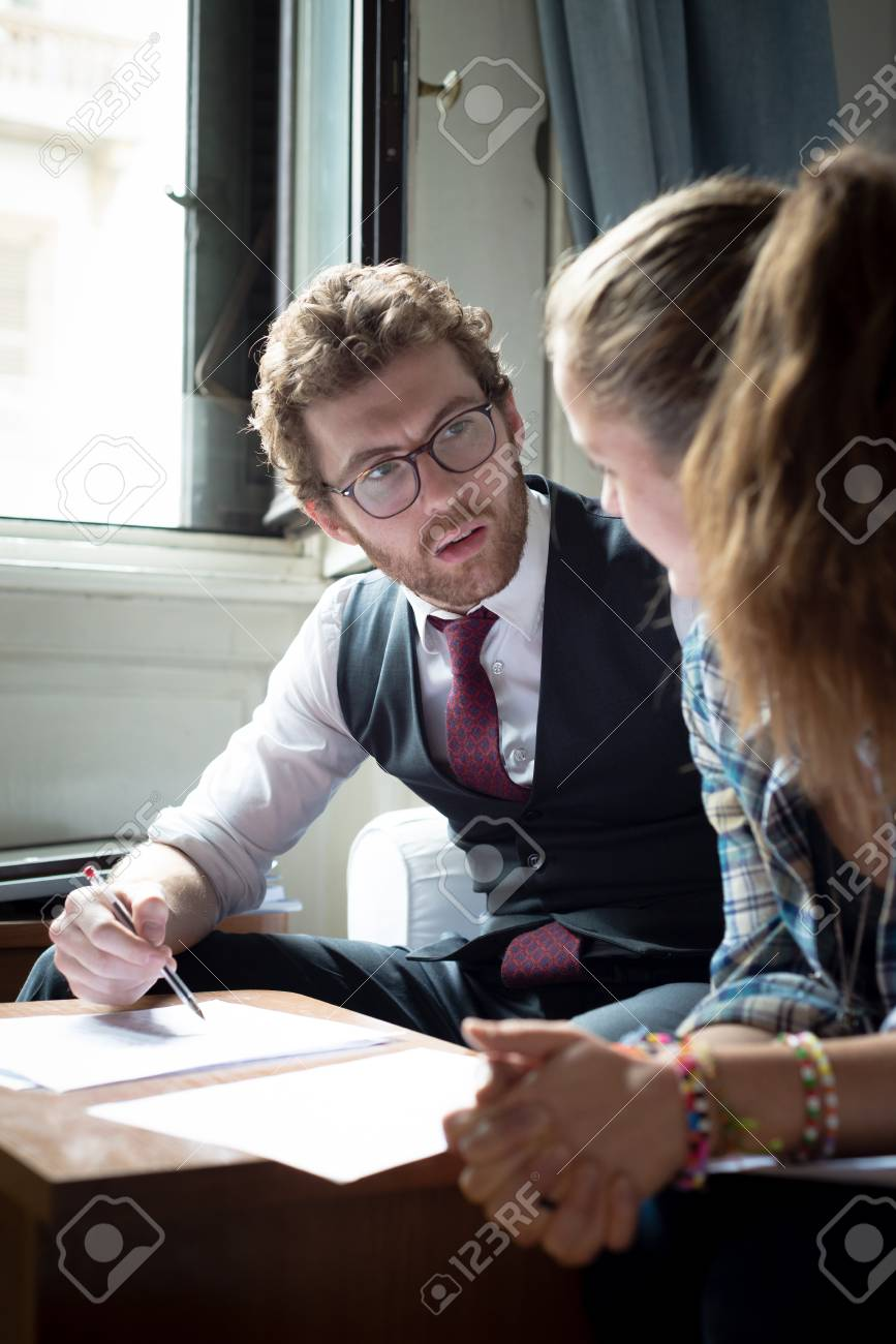 business blonde hipster couple working at home Stock Photo - 22774118