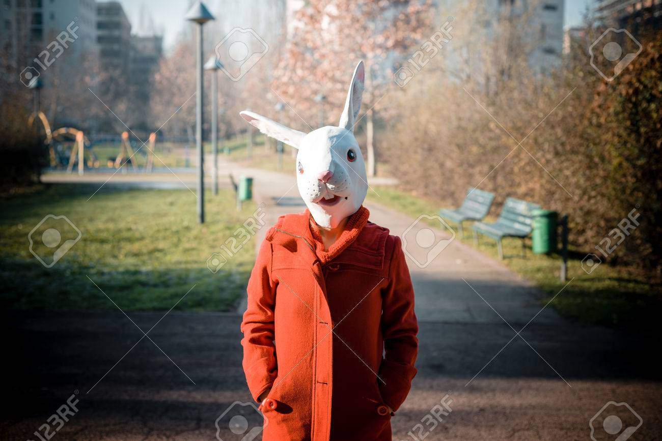 Rabbit Mask Woman Red Coat Winter Desolate Landscape Stock Photo ...