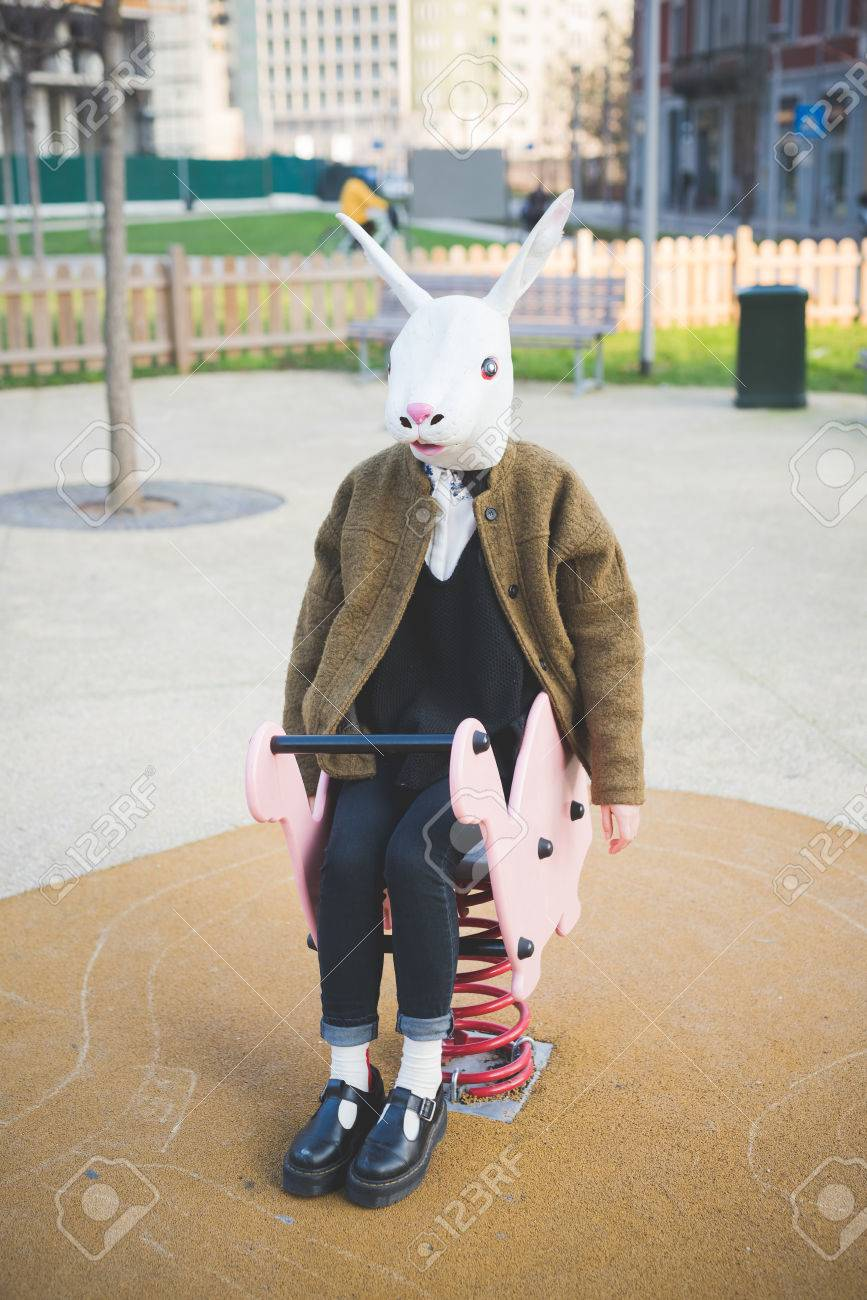 Young Beautiful Asian Hipster Woman In The City - Wearing Rabbit ...