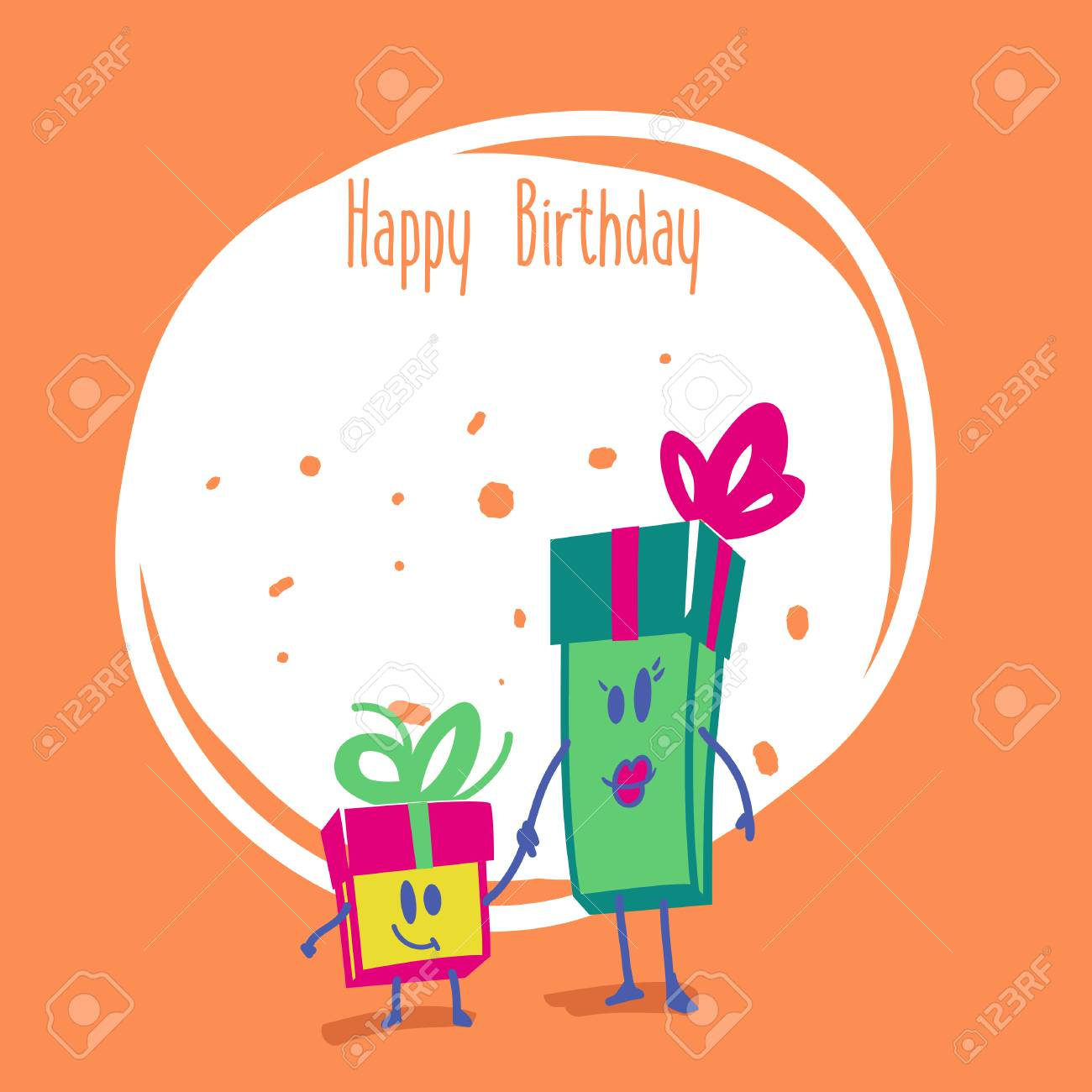 Happy Birthday Vector Birthday Card With Funny Gift Boxes Royalty