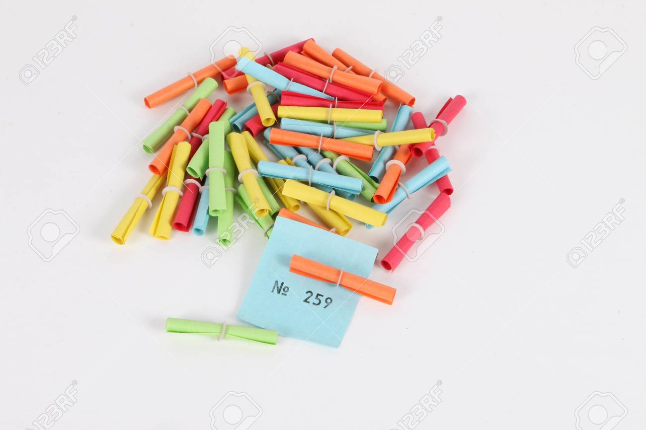 colorful tombola tickets with a winning number in the studio stock