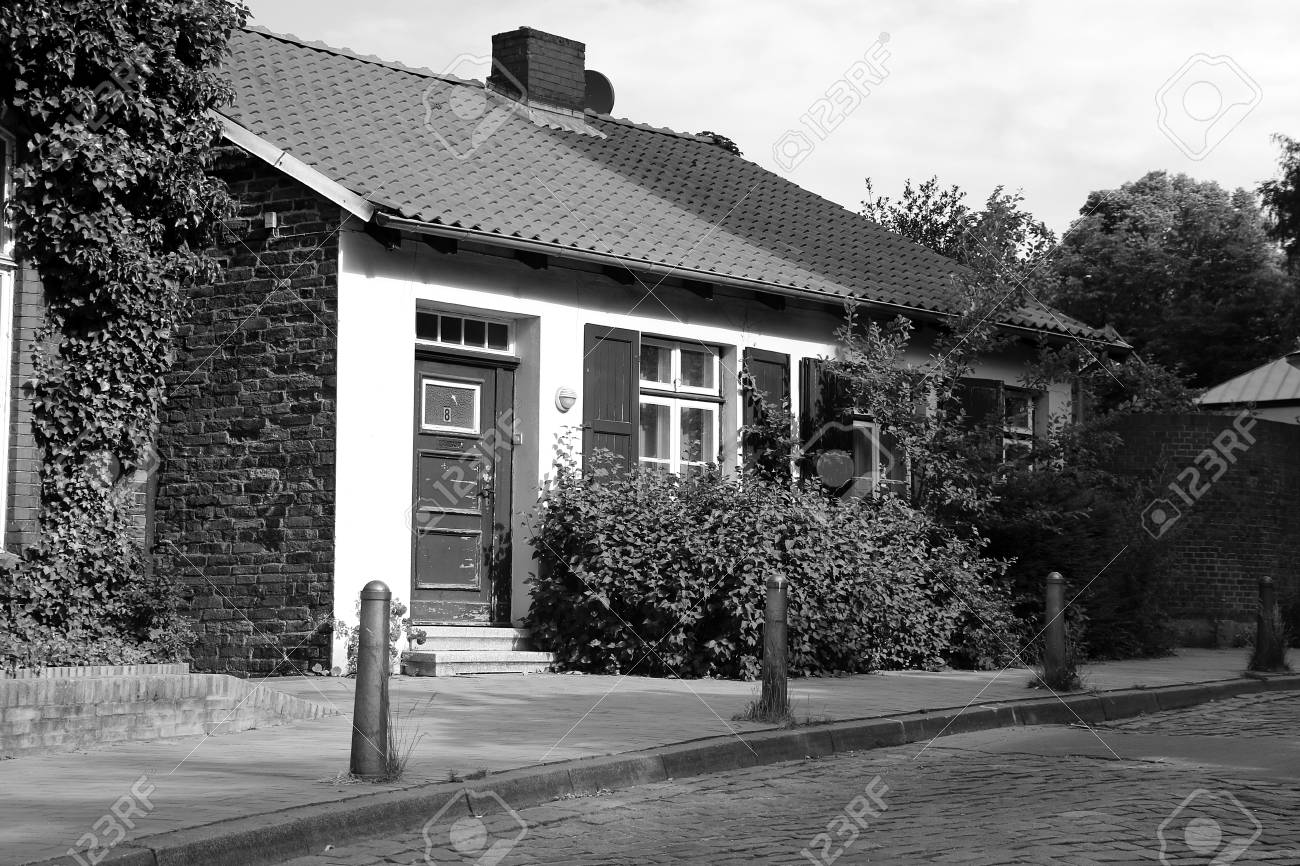 Beautiful Small Old House In The City In Black And White Stock
