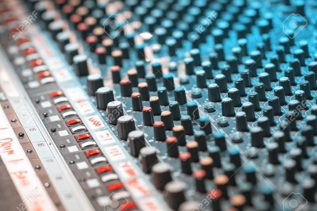 sound recording equipment music mixer controls soft photo stock