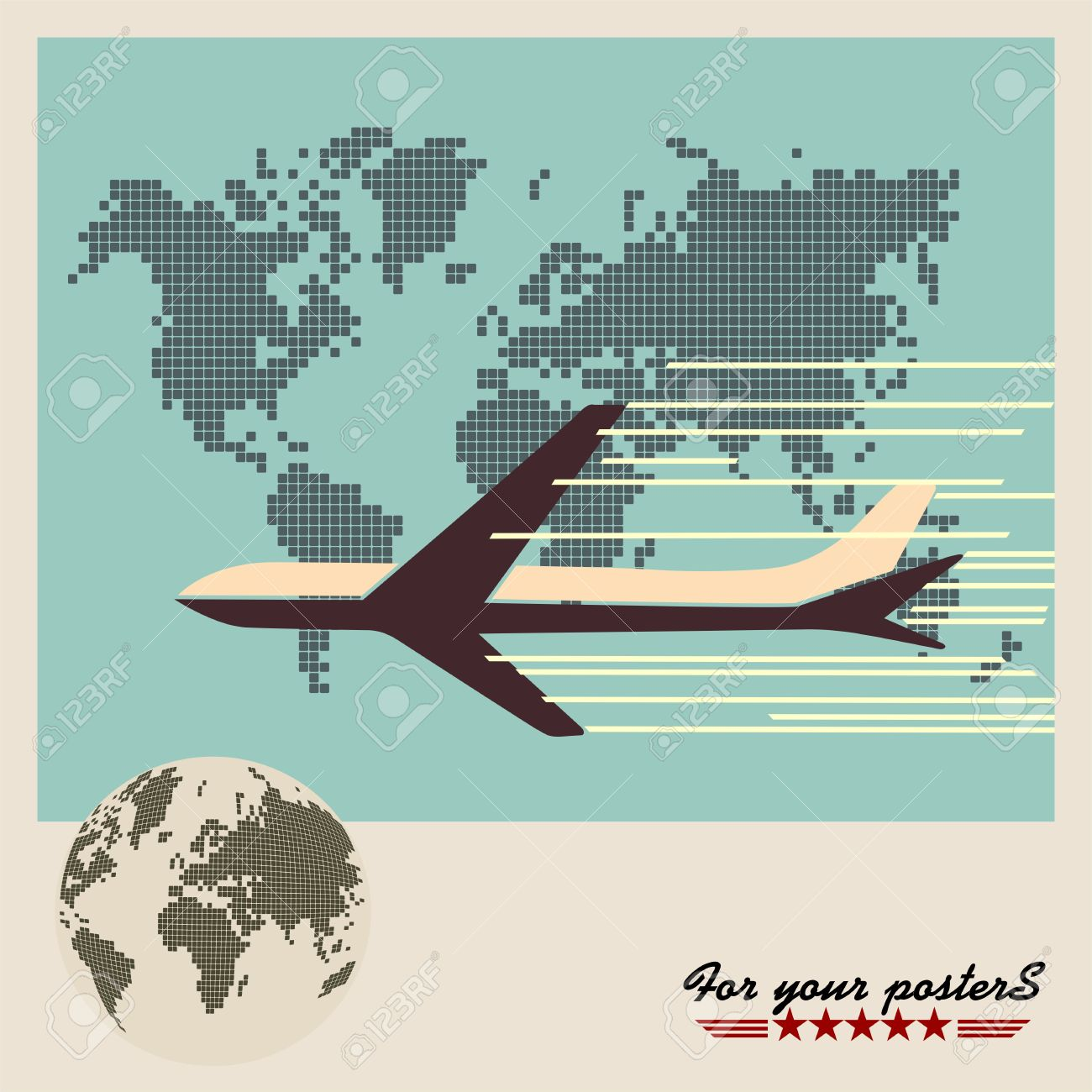 Airliner on world map background retro poster flat design royalty airliner on world map background retro poster flat design stock vector 27081090 gumiabroncs Image collections