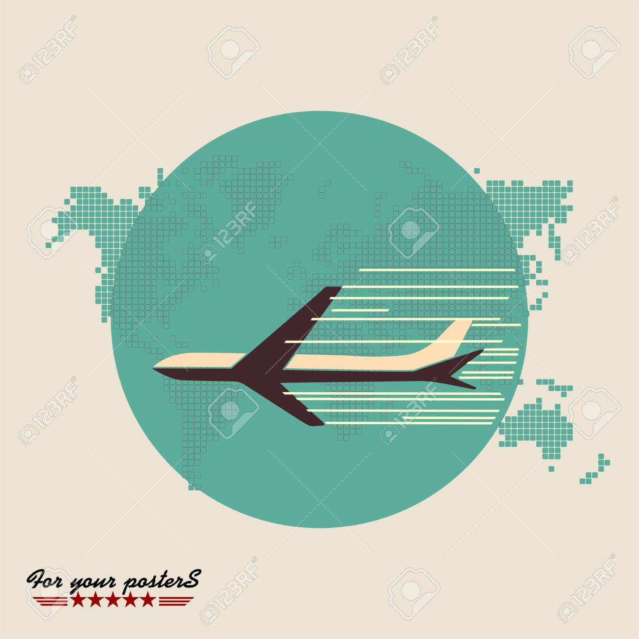 Airliner on world map background retro poster flat design royalty airliner on world map background retro poster flat design stock vector 27081095 gumiabroncs Images