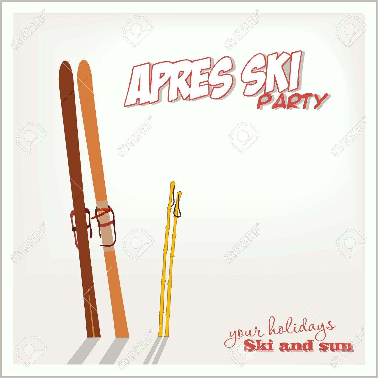 Banner Apres ski party with a equipment in the snow - 31833107
